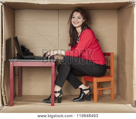 Happy Business Woman Working On A Computer