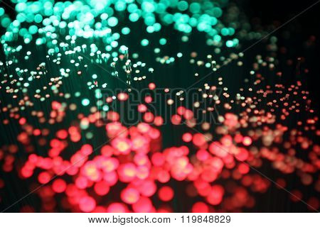 Color Optical fibers on black background
