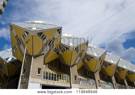 Rotterdam, Netherlands - May 9, 2015: Cube Houses In The Center Of The Rotterdam