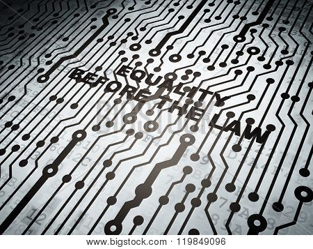 Political concept: circuit board with Equality Before The Law