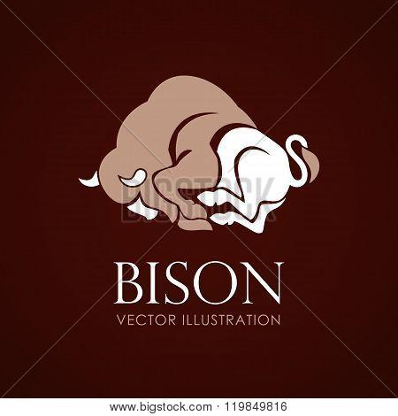 Bison Sign Logo Emblem On Brown Background