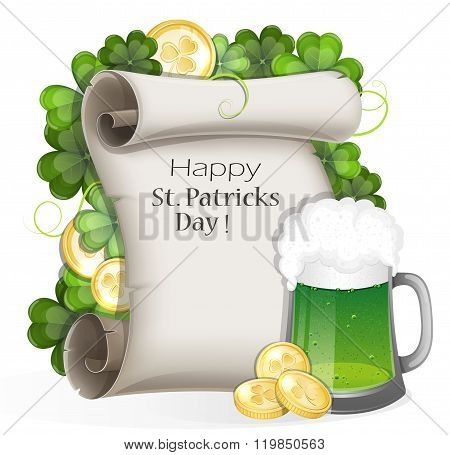 Green Beer With Coins And Clover