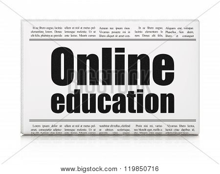 Studying concept: newspaper headline Online Education