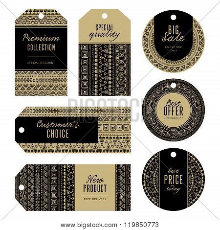 Set of gold tags