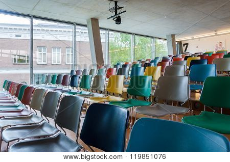 Rotterdam, Netherlands - May 9, 2015: Colorful Chairs In Auditorium