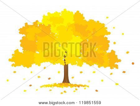 Vector illustration of lush gold tree on white background