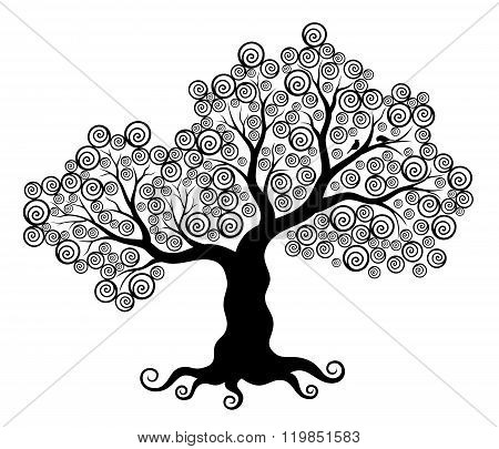 Vector illustration of abstract tree with swirls and two birds