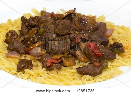 pasta with pork and mushrooms