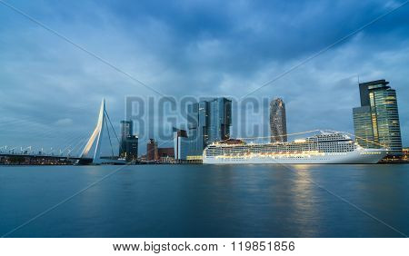 Twilight At Erasmus Bridge With Skyscraper In Rotterdam