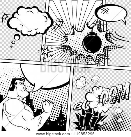 Vector Retro Comic Book Speech Bubbles Illustration. Mock-up of Comic Book Page with place for Text, Bubbles, Symbols, Sound Effects, Colored Halftone Background and Superhero. Black and White Coloring