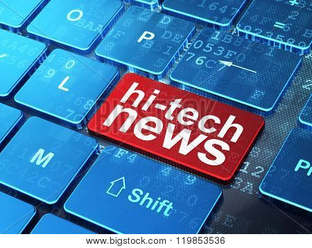 News concept: Hi-tech News on computer keyboard background