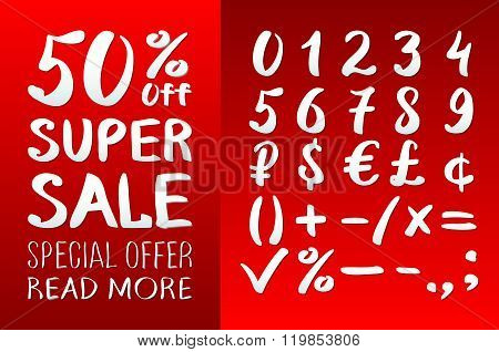 Numbers 0-9 Written With A Brush On A Red Background Lettering. Super Sale. Big Sale. Sale Tag. Sale
