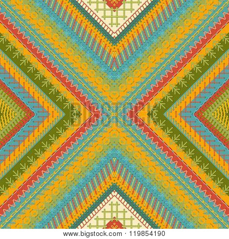 Seamless Tribal Embroidery Pattern.