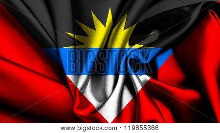 Antigua and Barbuda flag painted on silk texture