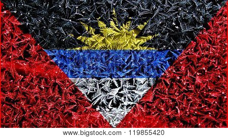 Antigua and Barbuda flag painted on frost