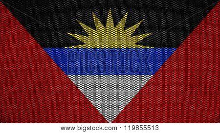 Antigua and Barbuda flag painted on stitch