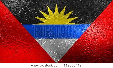 Antigua and Barbuda flag painted on metal texture