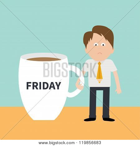 Sleepy Businessman Manager Friday Coffee Cup Mug Blue Background Flat Modern Simply Design