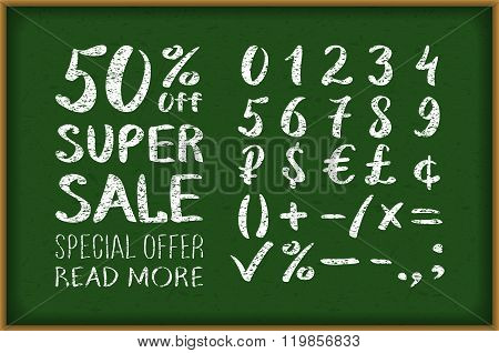Sale 50 Percent Drawing On Blackboard. Numbers 0-9 Written With A Brush On A Black Background Letter