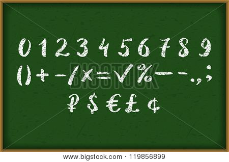 Numbers 0-9 Written With A Brush On A Wood Background Lettering.