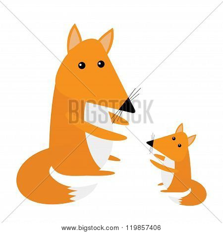 Fox Mother And Baby. Cute Cartoon Character Set. Forest Animal Collection. White Background. Isolate