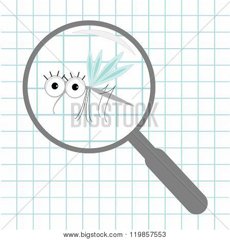 Mosquito Magnifer Research Optic Glass Paper Sheet Background Exercise Book Cute Cartoon Funny Chara