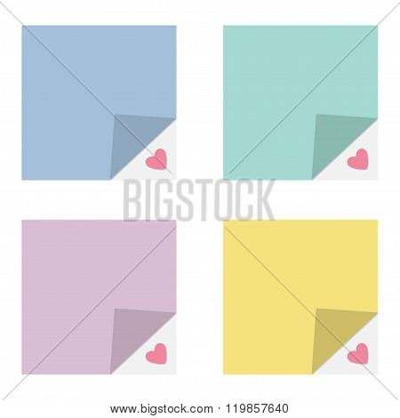 Adhesive Paper Notes And Tag Set. Heart Under Corner. Template. Flat Design Style.