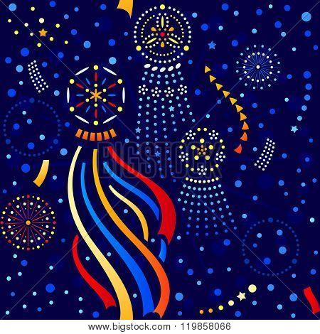 Japanese seamless Star festival (Tanabata) pattern