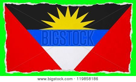 Antigua and Barbuda flag painted on paper texture