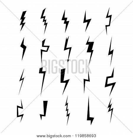 Lightning silhouette. Lightning bolt icon. Set of blue thunderbolt silhouettes. Lightning strike.