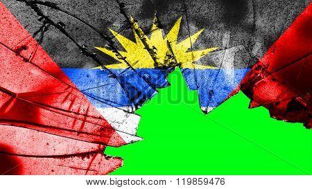 Antigua and Barbuda flag painted on broken glass