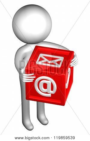 3D Man With With Signs: Envelope, Phone, E-mail