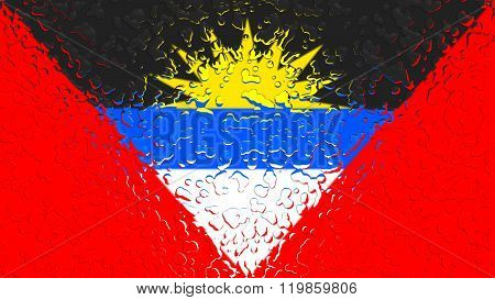 Antigua and Barbuda flag painted with water drops