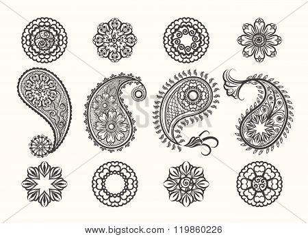 Henna Tatoo Paisley Icons Set