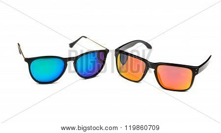 Two Sunglasses, Blue And Yellow Lens.