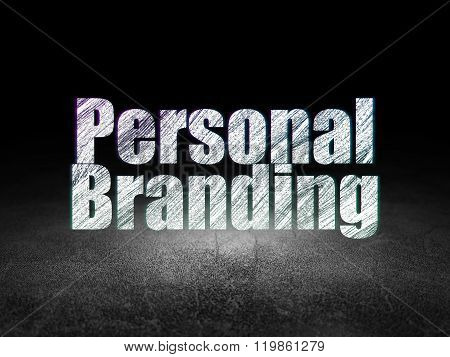 Marketing concept: Personal Branding in grunge dark room