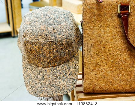 cap and briefcase made from Wooden Cork