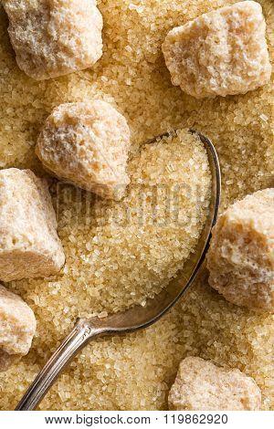 top view of unrefined cane sugar