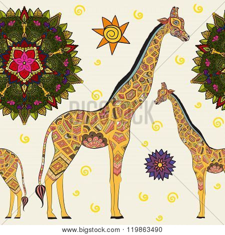 Beautiful adult Giraffe. Hand drawn Illustration of ornamental giraffe. isolated giraffe on white ba