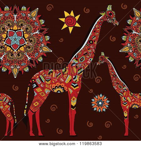 Beautiful adult Giraffe. Hand drawn Illustration of ornamental giraffe. isolated giraffe on dark bac
