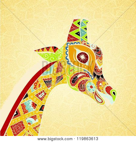 Beautiful adult Giraffe. Hand drawn Illustration of ornamental giraffe. Colored giraffe on ornamenta