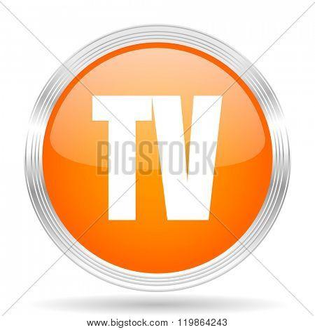 tv orange silver metallic chrome web circle glossy icon