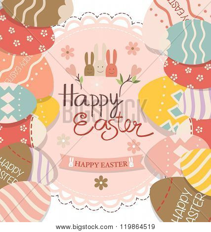 Happy easter cards with Easter bunnies and Easter eggs. Vector illustration.