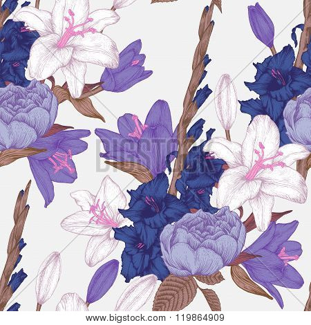Vector floral seamless pattern with hand drawn gladiolus flowers, lilies and roses