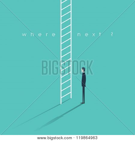 Corporate ladder concept illustration. Businessman making big career decision.