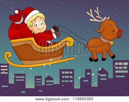Illustration of a Boy Kid Wearing A Santa Claus Costume Riding on a Sleigh Reindeer