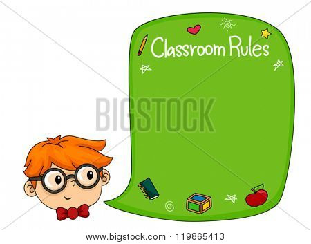 Illustration of a Boy while Analyzing the different Classroom Rules written on their Blackboard