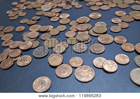 Close-up Image Of Euro Cents Coins