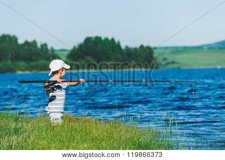 Funny Little Boy Fishing