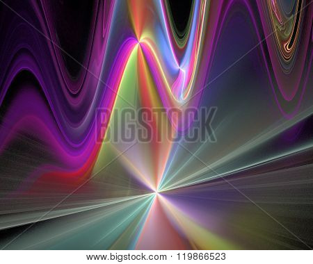 Abstract Fractal Design. Neon Waves On Black.